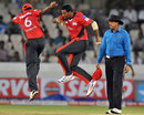 Janaka Gunaratne is ecstatic after dismissing Jacques Du Toit, Leicestershire v Ruhuna, CLT20 qualifier, Hyderabad, September 21, 2011