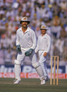 Greg Dyer waits for a return from the outfield, Pakistan v Australia, World Cup semi-final, Lahore, November 4, 1987