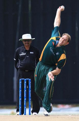 Lee Savident has a bowl, Malaysia v Guernsey, World Cricket League ...