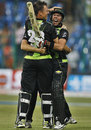 Johan Botha and Nicky Boje celebrate Warriors' win, Royal Challengers Bangalore v Warriors, CLT20, Bangalore, September 23, 2011
