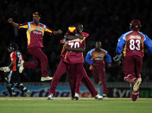 West Indies celebrate after Samit Patel is run out by a direct hit, England v West Indies, 2nd Twenty20, The Oval, September 25, 2011