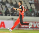 Kane Richardson celebrates after bowling Manvinder Bisla