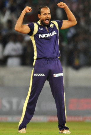Yusuf Pathan celebrates Cameron Borgas' wicket, Kolkata Knight Riders v South Australia, Champions League Twenty20, September 27, 2011