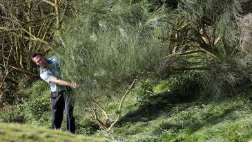 Michael Vaughan found himself in the rough during the Dunhill Links Championship