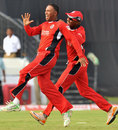 Samuel Badree celebrates a wicket, Leicestershire v Trinidad &Tobago, CLT20 qualifier, Hyderabad, September 20, 2011