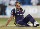 Jacques Kallis grimaces after bowling a ball, Kolkata Knight Riders v Warriors, CLT20, Bangalore, October 1, 2011
