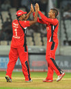 Sunil Narine celebrates a wicket, Leicestershire v Trinidad &Tobago, CLT20 qualifier, Hyderabad, September 20, 2011