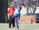 Scotland's Majid Haq delivers the ball, Namibia v Scotland, 1st unofficial Twenty20, Windhoek, October 1, 2011