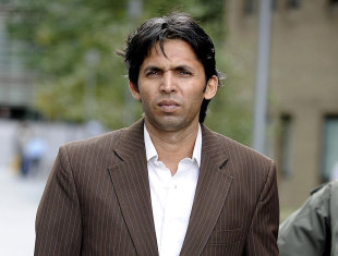 Mohammad Asif outside court ahead of the second day of his trial, Southwark, October 5, 2011