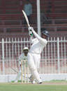 Bakthiyar Palekar drives during his half-century, UAE v Afghanistan, Intercontinental Cup, Sharjah, 1st day, October 5 2011
