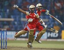 Arun Karthik and S Aravind celebrate after the last-ball six, Royal Challengers Bangalore v South Australia, Champions League T20, October 5, 2011
