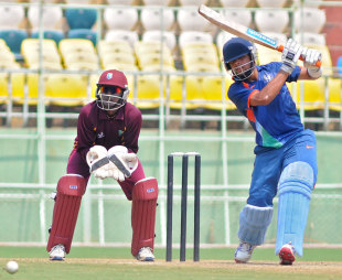 Manan Vohra drives on his way to 44, India Under-19s v West Indies Under-19s, Quadrangular Under-19 series, Visakhapatnam, October 7, 2011