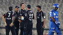 Adam Dibble is congratulated on dismissing Ambati Rayudu