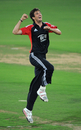 Steven Finn celebrates his hat-trick against Hyderabad XI