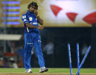 Malinga cleaned up four batsmen in the match, Somerset v Mumbai Indians, 2nd semi-final, CLT20, Chennai, October 8, 2011