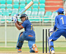 Akshdeep Nath sweeps during his 55, India U-19 v Sri Lanka U-19, final, Quadrangular series, Visakhapatnam, October 9, 2011