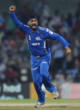 Harbhajan Singh celebrates the dismissal of Chris Gayle, Mumbai Indians v RCB, CLT20 final, Chennai, October 9, 2011
