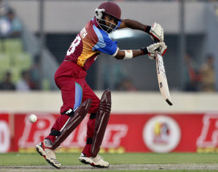 Adrian Barath guides one into the off side, Bangladesh v West Indies, only Twenty20, Mirpur, October 11, 2011