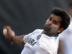 Vinay Kumar has a bowl, Hyderabad, October 12, 2011