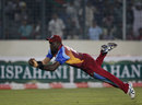 Danza Hyatt takes a spectacular catch to get rid of Naeem Islam, Bangladesh v West Indies, 1st ODI, Mirpur, October 13, 2011
