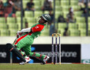 Mushfiqur Rahim sways out of the way of a delivery