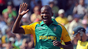 Lonwabo Tsotsobe celebrates a wicket during his spell of 2 for 11