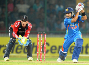 Virat Kohli drives during his wonderful hundred, India v England, 2nd ODI, Delhi, October 17 2011