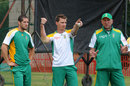 Wayne Parnell, Dale Steyn and Allan Donald chat during practice