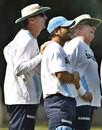 Eric Simons, MS Dhoni and Duncan Fletcher share a light moment, Mohali, October 19, 2011