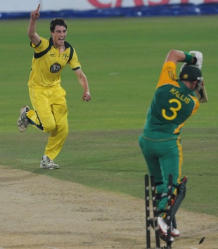 Patrick Cummins gets one through the defences of Jacques Kallis, South Africa v Australia, 1st ODI, Centurion, October 19, 2011