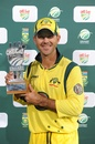 Ricky Ponting with his Man of the Match trophy, South Africa v Australia, 1st ODI, Centurion, October 19, 2011