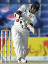 Ragana Herath plays the pull, Pakistan v Sri Lanka, 1st Test, Abu Dhabi, 5th day, October 22, 2011
