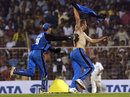 Andrew Flintoff celebrates England's win, India v England, 6th ODI, Mumbai, February 3, 2002