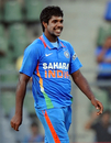 Varun Aaron had reason to smile as he picked up three wickets on debut