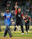 Stuart Meaker claimed Ajinkya Rahane as his first international wicket