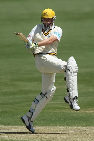 Marcus North pulls during his century, South Australia v Western Australia, Sheffield Shield, Adelaide, 1st day, October 25, 2011