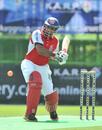 Hong Kong skipper Najeeb Amar in action at the KARP Group Hong Kong Cricket Sixes 2011
