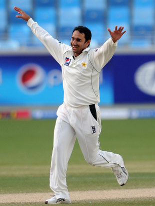 Saeed Ajmal is pleased after his five-for, Pakistan v Sri Lanka, 2nd Test, Dubai, 4th day, October 29, 2011