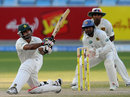 Mohammad Hafeez hits out on his way to a half-century, Pakistan v Sri Lanka, 2nd Test, Dubai, 4th day, October 29, 2011
