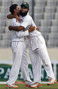Nasir Hossain and Suhrawadi Shuvo celebrate the dismissal of Marlon Samuels