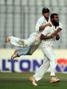 Suhrawadi Shuvo celebrates his dismissal of Kirk Edwards