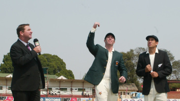 Brendan Taylor spins the coin at the toss as Ross Taylor and Alistair Campbell look on, Zimbabwe v New Zealand, only Test, Bulawayo, 1st day, November 1, 2011