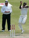 Njabulo Ncube in his delivery stride on Test debut, Zimbabwe v New Zealand, only Test, Bulawayo, 1st day, November 1, 2011