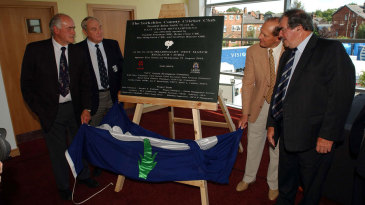 Former Yorkshire players Ray Illingworth, Brian Close, Fred Trueman and Geoff Boycott unveil the plaque for the new east stand at Headingley