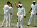 Zimbabwe celebrate the run-out of Kane Williamson, Zimbabwe v New Zealand, only Test, Bulawayo, 1st day, November 1, 2011