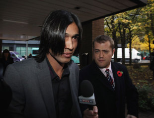 Mohammad Amir outside the Southwark Crown Court, London, November 2, 2011
