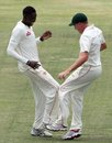 Chris Mpofu and Ray Price celebrate a wicket, Zimbabwe v New Zealand, only Test, Bulawayo, 2nd day, November 2, 2011