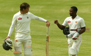Malcolm Waller and Regis Chakabva during their 86-run stand, Zimbabwe v New Zealand, only Test, Bulawayo, 3rd day, November 3, 2011