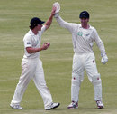 BJ Watling and Reece Young high-five after they think they have dismissed Brendan Taylor, Zimbabwe v New Zealand, only Test, Bulawayo, 5th day, November 5, 2011