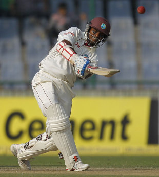 Shivnarine Chanderpaul hits a six, India v West Indies, 1st Test, New Delhi, 1st day